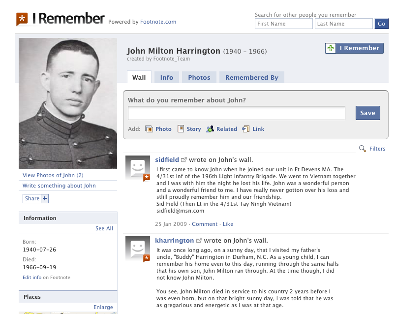 John Milton Harrington's I Remember Page