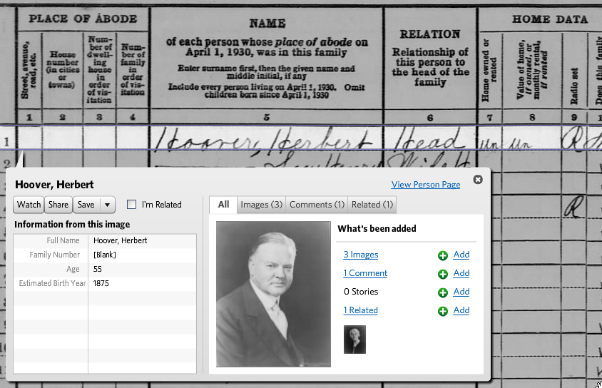 Herbert Hoover in the 1930 Census