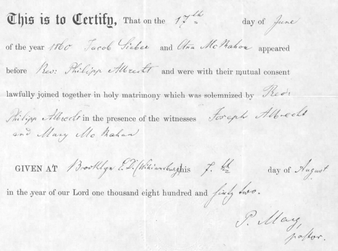 Marriage Certificate in the Civil War Widows' Pension file of Jacob Seiber